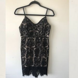 Dresses & Skirts - Back lace over nude dress